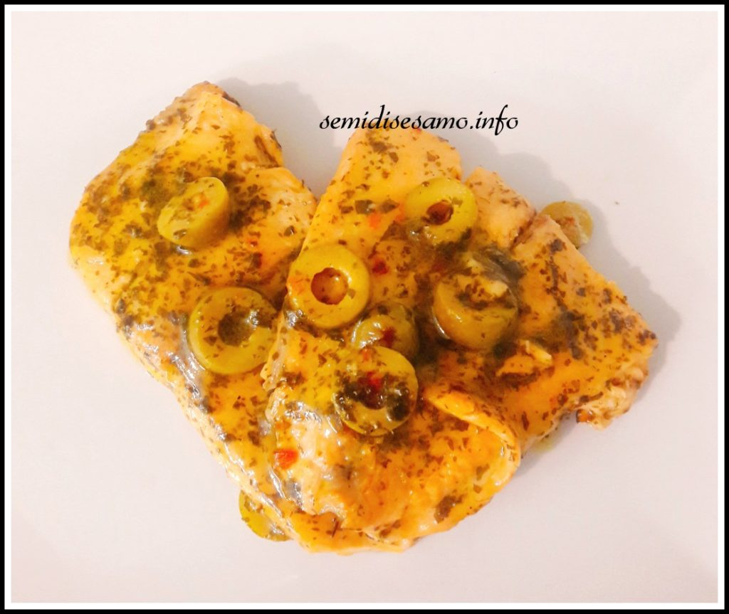 Trota salmonata all'arancia con olive 1